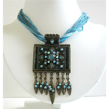 Blue Necklace Multi Strings Aquamarine Blue w/ Black Oxidized Pendant