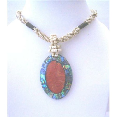 Shell Pendant Necklace w/ Abalone Oval Pendant Necklace