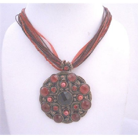 Red Enamel Pendant Multistranded Necklace Ethnic Traditional