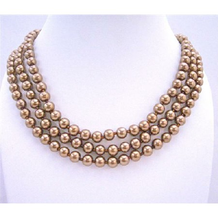 Simulated Bronze Brown Pearls Long Jewelry 62 Inches Long Necklace