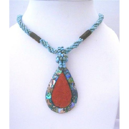 Multi Strand Turquoise Beaded Necklace Abalone Teardrop Coral Stone