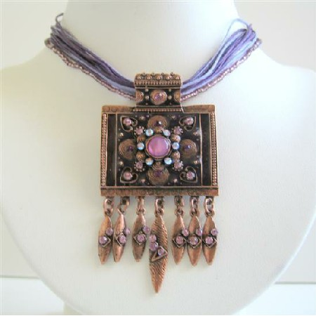 Necklace Ethnic Copper Square Pendant w/ Amethyst Crystals Necklace