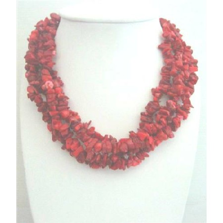 Sterling Silver Coral Beaded Necklace Multi 4 Strands Coral Necklace