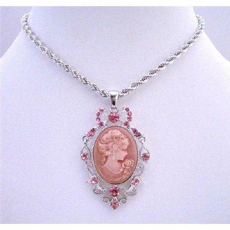 Cameo Lady Pendant Rose Pink Crystal Pendant Knitted Chain Necklace