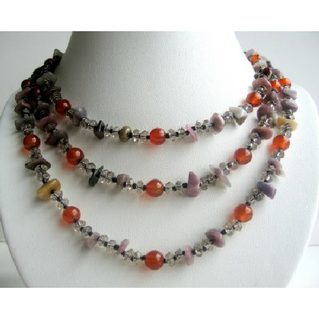 Multi Gemstone Beads 3 Strands Necklace Carnelian Beads Smokey & Rose
