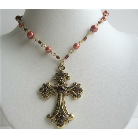 Culture Pearl Necklace Jet Black Diamond Crystal Cross Pendant Choker
