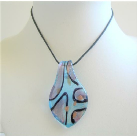 Magnificient Glass Pendant Necklace Leaf Glass Painted Pendant Jewelry
