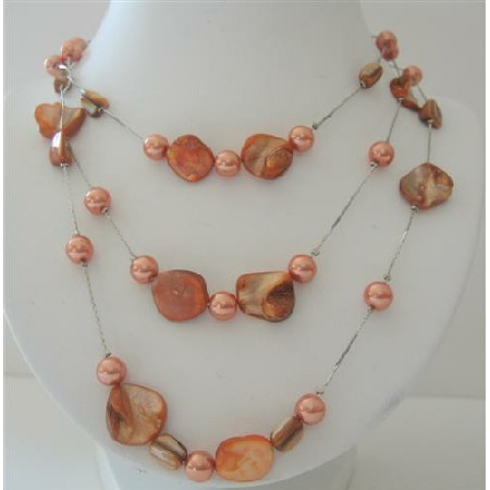 Peach Shell & Pearl 3 Stranded Long Necklace Shell 26 Inches Necklace