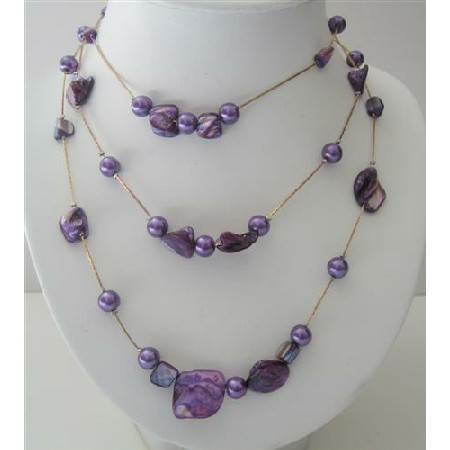 Purple Shell & 3 Stranded Pearl Long Necklace Shell 26 Inches Necklace