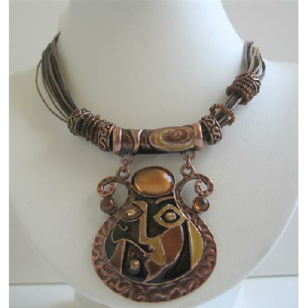 Brown Ethnic Enamel Copper Pendant Brown Multi String Necklace