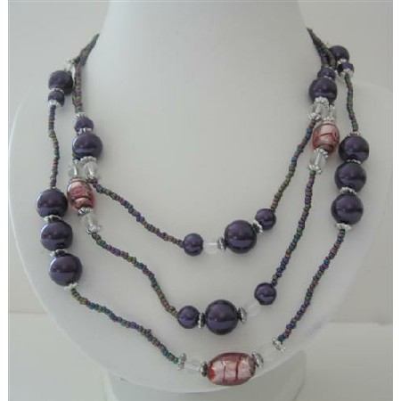 Three Stranded Beaded 20 Inches Long Necklace Simulated Purple Pearl