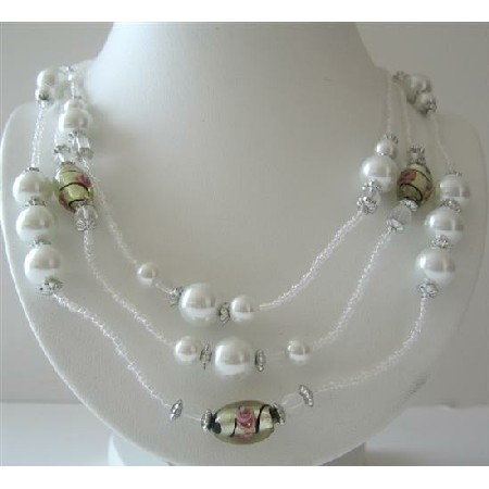 White Beaded 3 Stranded 20 Inches Long Necklace Simulated White Pearl
