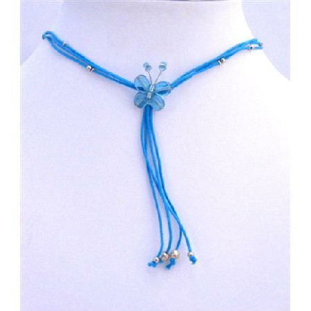 Blue Sexy Butterfly Necklace w/ Beautiful Tassel Necklace