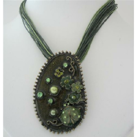 Green Enamel Pendant Green Multi String Necklace Stunning Jewelry