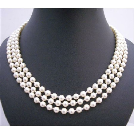 Swarovski Lite Cream Pearl 59 Inches Long Necklace w/ Japanese Glass Beads As Spacer Necklace