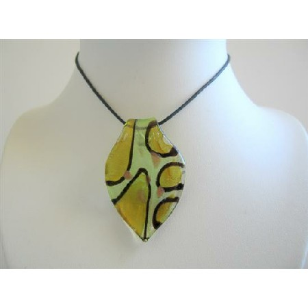 Fashionable Costume Jewelry Sexy Painted Glass Leaf Pendant Necklace