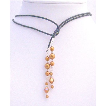 Swarovski Copper Pearl Lariat Necklace & Swarovski Copper Crystals w/ Silver Beads Spacer Necklace