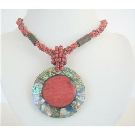 Red Beaded Necklace Button Clasp w/ Abalone Round Pendant Coral Stone
