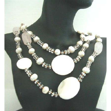 Semi Recious Jewelry Mother Shell Rose Quartz Freshwater pearls Clear Crystal Necklace 60 Inches Long