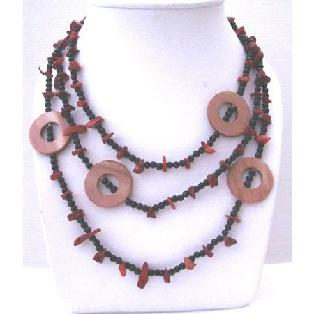 Coral Nuggets Onyx Beads & Dyed Mother Shell Rings 58 Inches Necklace