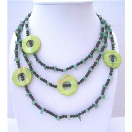 Jade Nuggets Onyx Beads & Green Dyed Mother Shell Rings Long Necklace