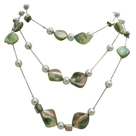 Green Mother Shell w/ Synthetic Pearl 3 Stranded Long Necklace 28 Inches Long Necklace