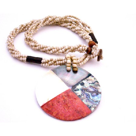 Black Beaded Necklace w/ Coral Mother Shell Abalone Pendant Necklace