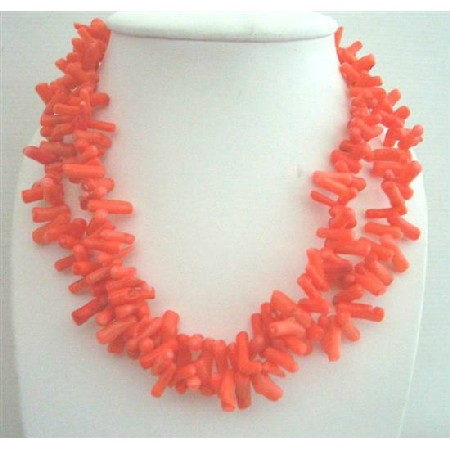 Coral Angle Skin Orange Coral Tube Beads Double Stranded Necklace