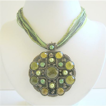 Traditional Ethnic Pendant Green Enamel Multistranded Necklace