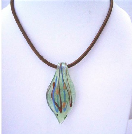 Hand Painted Leaf Murano Glass Pendant Glass Pendant w/ Chord Necklace