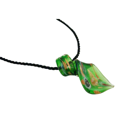 Murano Green Glass Green Chilli Pendant Necklace w/ Hand Painted Green