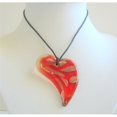 Glass Heart Pendant Necklace Murano Glass Heart Pendant Hand Painted