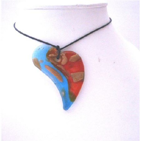 Classy Glass Heart Pendant Necklace Murano Hand Painted Chord Necklace