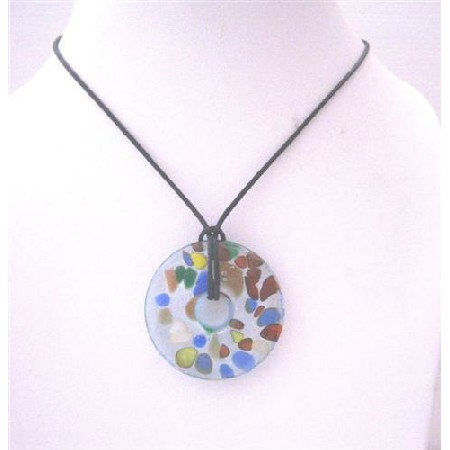 Hand Painted Murano Glass Pendant Round Pendant Black Chord Necklace