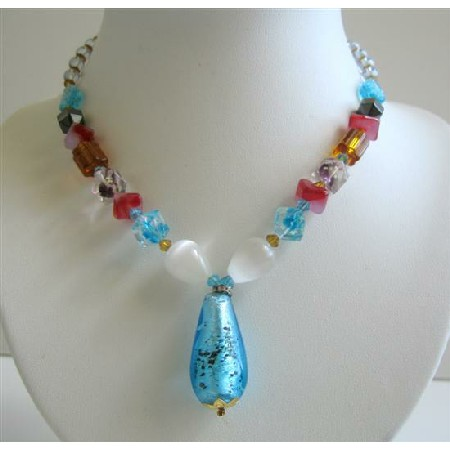 Fancy Glass Multi Colored Glass Beads Sexy TearDrop Pendant Necklace