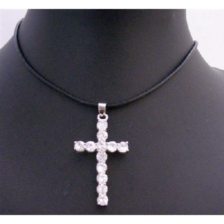 White Cross Pendant w/ Black Leather Cord Necklace Clear Crystal Cross Pendnat