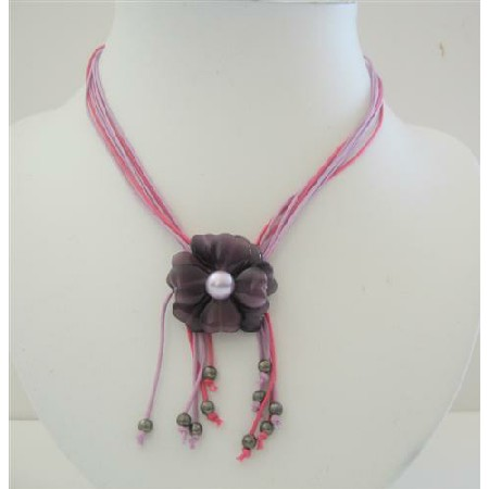 Amethyst Flower Pendant Multi Stranded Necklace w/ Tassel Drop Down