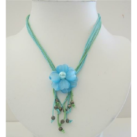 Multi Stranded Necklace w/ Cool Blue Flower Pendant
