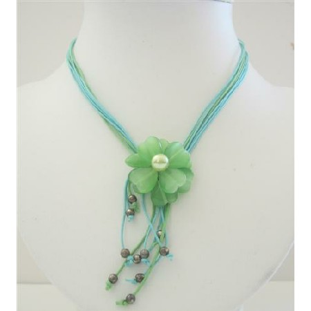 Green Flower Multi Stranded Necklace w/ Pendant & Tassel Drop Down