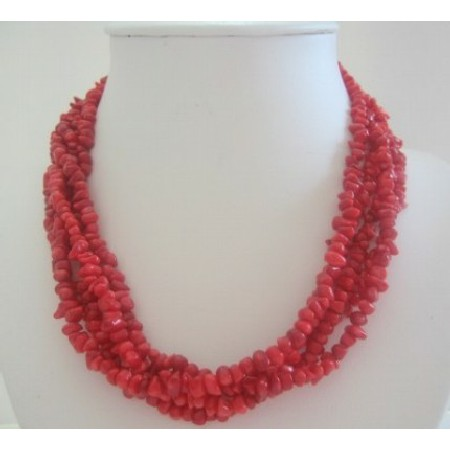 Five Stranded Coral Beaded Necklace w/ Silver Clasp
