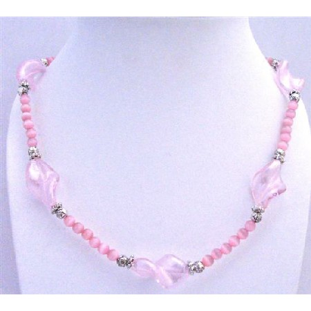 Pink Cat Eye Long Necklace Pink Twisted Murano glass Beads & Spacers