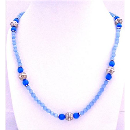 Long Necklace Lite Sapphire Faceted Beads w/ Round Bali Mettalic Beads