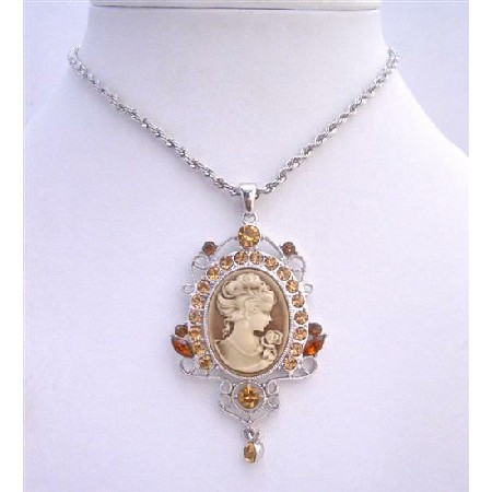 Cameo Victorian Lady Pendant Golden Shadow Crystals Dangling Necklace