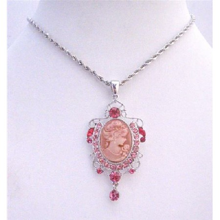 Rose Pink Sparkling Crystals Victorian Lady Cameo Pendant Necklace