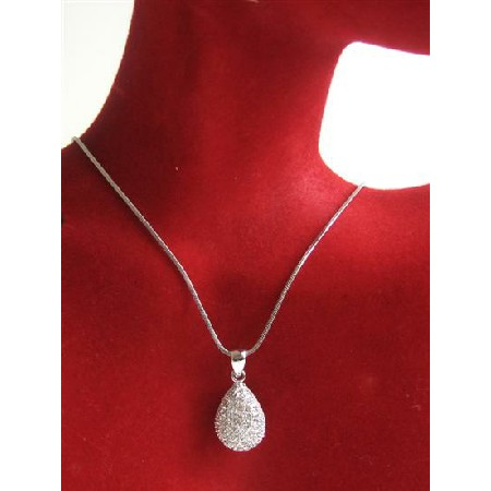 Pear Pendant Necklace Fully Embedded w/ Cubiz Zirconia Necklace