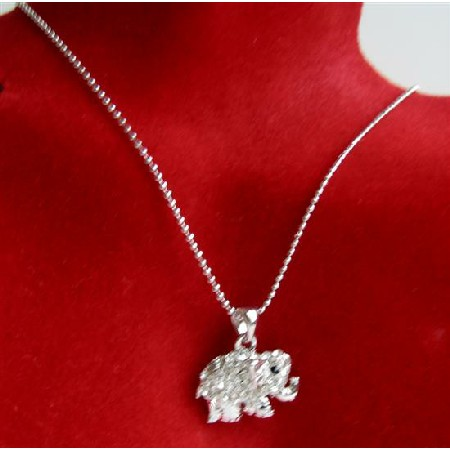 Elephant Pendant Necklace Elephant Cubic Zircon & Black Eye Necklace