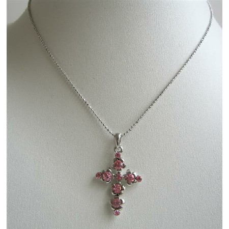 Pink Cross Pendant Fully Embedded Pink Cubic Zircon Pendant Necklace