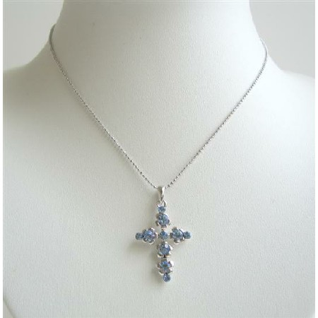 Blue Cross Pendant Fully Embedded Blue Cubic Zircon Pendant Necklace