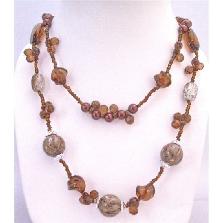 Brown Long Necklace 34 Inches Double Stranded Necklace Tiny Glass Bead
