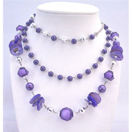 Purple Three Stranded Necklace Disco Balls Acrylic Glass Beads